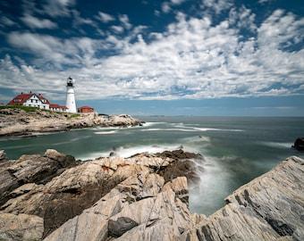 Portland Head Light, Portland Lighthouse, Maine Coast Photo, Wall Art, Large Wall Art, Large Landscape Print, Ocean Picture