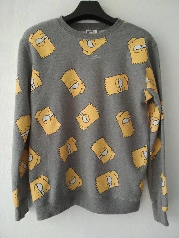 Vintage Simpson cartoon monogram grey men sweatshi