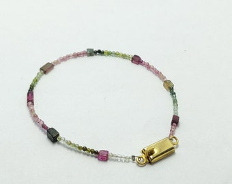 Natural PinkTourmaline Aquamarine Faceted Stone Cts 31.63  Pink Shape Round Beads and Cubi Hand bracelet  Jewellery making Wedding gift