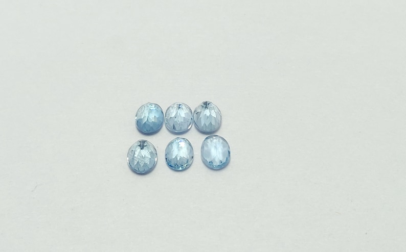 Natural Aquamarine Santa maria Faceted stone  Size 5x7 oval shape Cts 4.38 Piece 6 Lot  birthstone Jewellery Making Loose Gemsstone