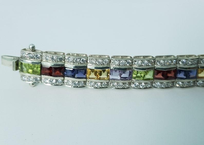 Colourful Multi Stone Silver Bracelet,Amethyst,Garnet,Peridot,Citrine,92.5 Sterling Silver Bracelet,Bracelets for Women,Wedding Jewelry