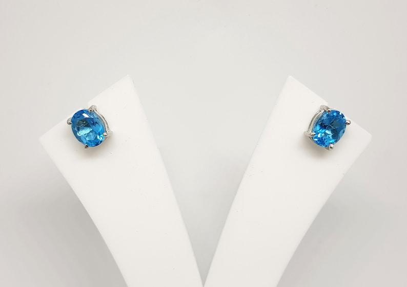 Swiss Blue Topaz Earrings In 92.5 Sterling Silver For Women and Girls Gift for her Blue Oval Natural Topaz gemstone Earrings