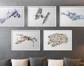 Set of 5 Spaceship Prints Iconic Sci-Fi Spacecrafts Watercolor Print Wall Art Star Wars X-wing Enterprise Mass Effect