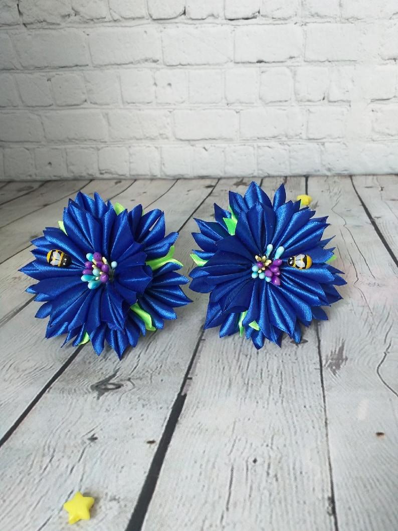 Blue flowers ribbon hair ornaments elastic bands for girls handmade flowers ribbons gift for girls satin ribbon flower decoration