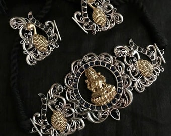Bollywood Indian Jewellery Oxidized handmade intricate dual tone laxmi necklace /& earring Necklace for Women Trendy Indian Jewelry