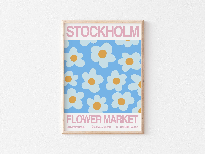 Flower market print London Paris Tokyo digital download Set of 3 flower market poster printable wall art Illustration modern art