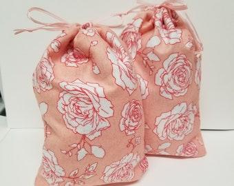 Reusable Handmade Fabric Gift Bag w/ Coral Roses