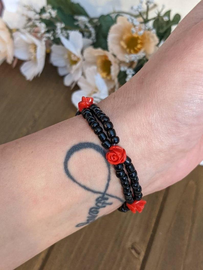 1990/'s Style Red Rose /& Black Czech Bead Double Strand Elastic Stretch Bracelet