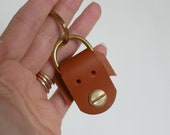 Dora the Dog Keychain in Vegetable Tanned Leather, with Brass Hardware