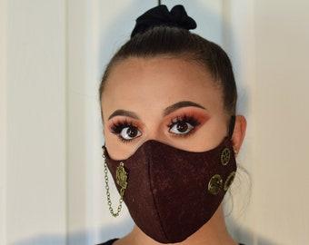 Brown Adjustable Steampunk Face Masks