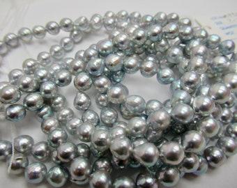 1 PC 8mm Genuine Japanese Akoya Pearl Beads,Silverish Blue Natural Color Round Akoya Pearls 3108-NK Pinkish Blue Shade Akoya Loose Pearls