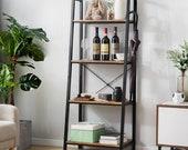 Retro Ladder Shelf, Bookcase, Metal Frame Bookshelf, Plant and Flower Stand Storage Rack Shelves for Living Room