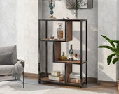 Industrial Bookcase,Floor Standing Bookcase,Large 3-Tier Storage Rack in Living Room Office Study, Simple Assembly, Stable Steel Frame