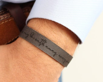 Personalized Leather Actual Handwriting Bracelet, Antique Gray Leather Bracelet, Signature Bracelet, Personalized Gifts for Men