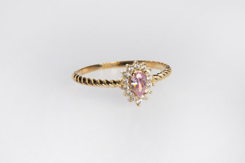 Pink Sapphire Dainty 14k Gold Minimal Ring Sapphire Jewelry Pink Sapphire Ring Cluster Ring Black Friday Sale Pear Cut Sapphire Ring