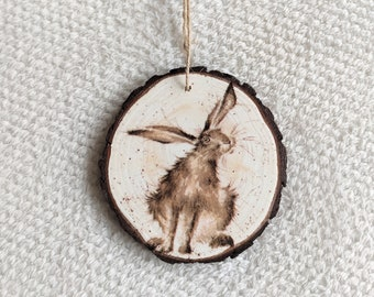 Decoupaged Wood Slice Bunny Ornament Easter