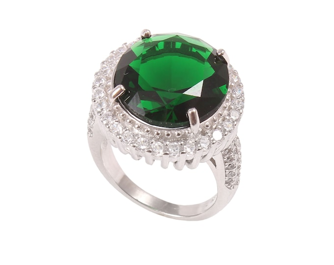 Valentines Gift Emerald Green Crystal Ring in Sterling Silver 925 Mother/'s Day Gift Statement Ring for Women Cocktail Ring
