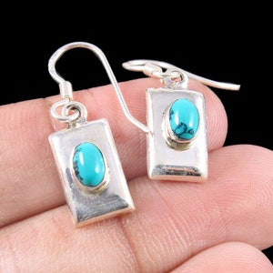 African Turquoise Silver Earrings Boho Jewelry Birthday Gift For Best Friend 40th Birthday Gift Mothers Day For Sisters Unique Earrings