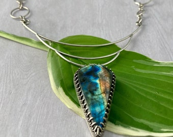 Triple Arc Labradorite & Sterling Silver Handmade Statement Necklace