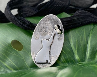 Sterling Silver Pendant- Kitten and Butterfly