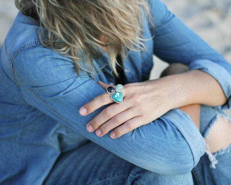 Three birthstone ring for November women garnet aquamarine turquoise silver ring SCORPIO open multi stone ring triple gemstone ring