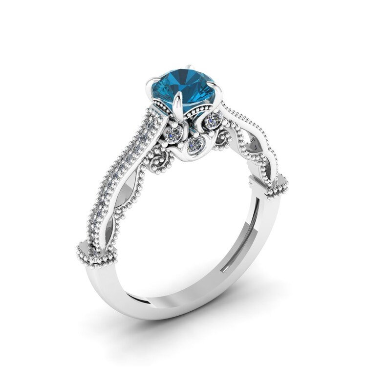 Anniversary Ring Antique Wedding Handmade Ring Landon Blue Topaz Ring Vintage Gemstone Ring Promise Ring Topaz 14k Rose Gold Ring
