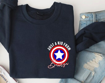 Just A Kid From Brooklyn Sweatshirt, Captain America Sweatshirt, Captain Shield, Steve Rogers Shirt, Rogers 1918 Shirt Superhero, MCU