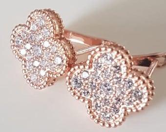 925 Silver Diamond Shamrock Earrings, Vermeil Gold Clover Four-leaf Crystal Micro-pavé Filigree Lotus clover Flower Flower Sakura cd-595-cc