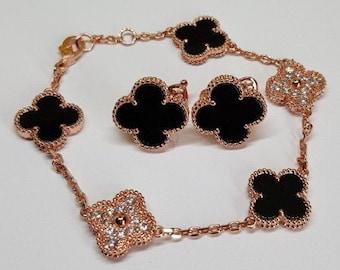 Shamrock bracelet, clover pure 925 silver enamel filigree black red white green vermeil lotus clover flower flower sakura apn-592-cc