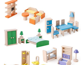 4 ROOMS - Doll house furniture living room ,Baby room, Kitchen ,doll dining room, Bathroom, Doll washroom, Doll house Wooden furniture, gift