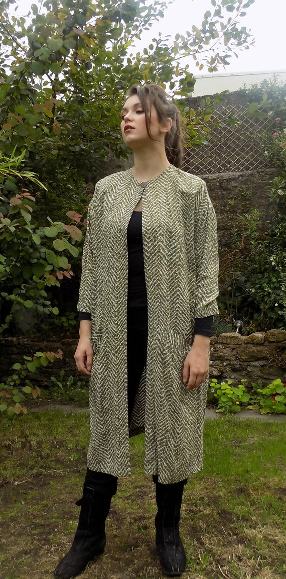 Vintage green cream cotton duster coat