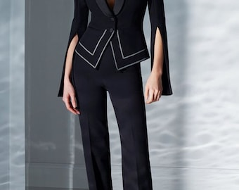 Women Black Designer Piping Custom Made 2pc Two Piece Suit Formal Xmas Latest Coat Pant Wedding Party Prom Tuxedo Suit Slim Fit