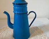 Beautiful Decorative French Vintage Enameled Coffee Pot in Blue Flower Vase Garden Decoration Interior Display Piece