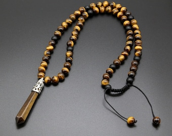 Tiger/'s Eye Hexagon Point Pendant Necklace,Mala Beads Necklace for Women Men,Healing Natural Stone Crystal Protection Pendulum Necklace Gift