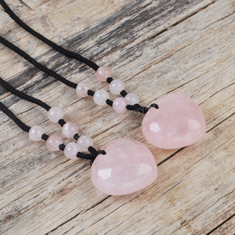 Rose Quartz Heart Pendant Necklace Healing Crystal Gemstone Necklace,Wife Gift for Her Natural Pink Rose Quartz Crystal Necklace for Women