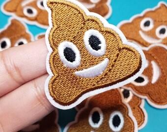 smiley face Emoji Poo applique iron on