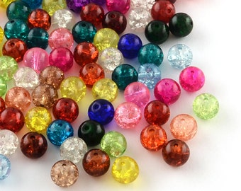 GLASS BEADS 100 X 8mm FOR JEWELLERY  AND MAKING CRAFTS CRACKLE MIXED COLOURS