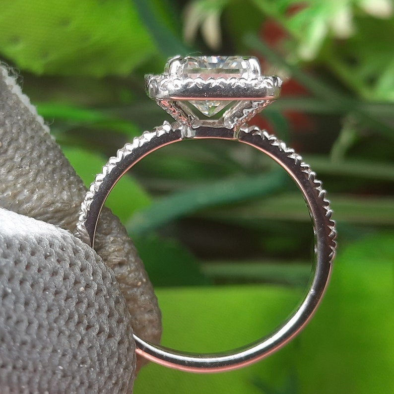 Forever Moissanite  3.50 TCW Ice Crushed Radiant Cut  Halo Engagement /& Wedding Ring  In 14k White Gold Finish  Womens Ring