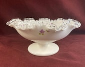 Vintage Hand Painted Fenton Silvercrest Milk Glass Ruffled Footed Bowl, Dish, Compote, Purple Flowers, 8 quot across, 4 quot high, White, clear Trim