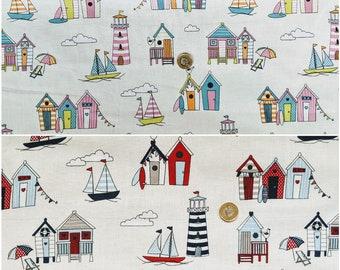1 full metre Cream Beach Huts Polycotton fabric//Material