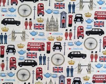 London theme, royal family, 100% cotton fabric, half metre full meter, Makower, craft cotton, vintage * UK seller *