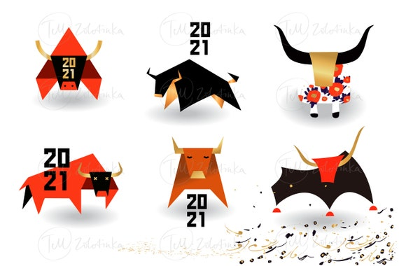 Happy New Year 2021. Year of Bull, Ox Taurus. Chinese lunar zodiac symbol of 2021. Vector illustration with cow, ox.