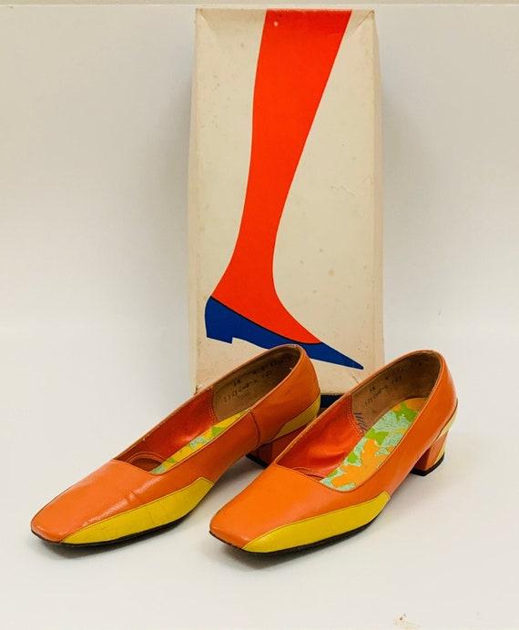 Vintage 1960s Jantzen Pumps Orange and Yellow