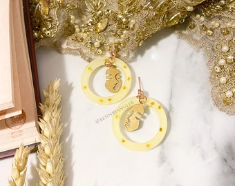Handmade Gold Star Female Face Brass Charm Yellow Resin Rose Gold Stud Earrings