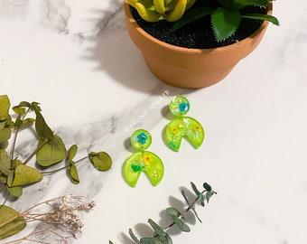 Green Botanical Stud Earrings Handmade with Real Flowers