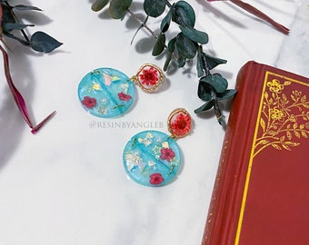 Handmade Blue Botanical Stainless Steel Stud Earrings with Real Dried Flowers