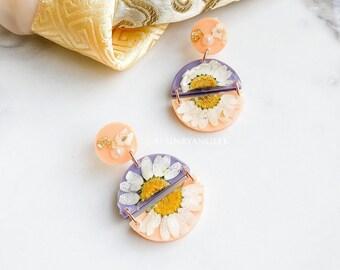 Stainless Steel Botanical Resin Handmade Beautiful Earrings