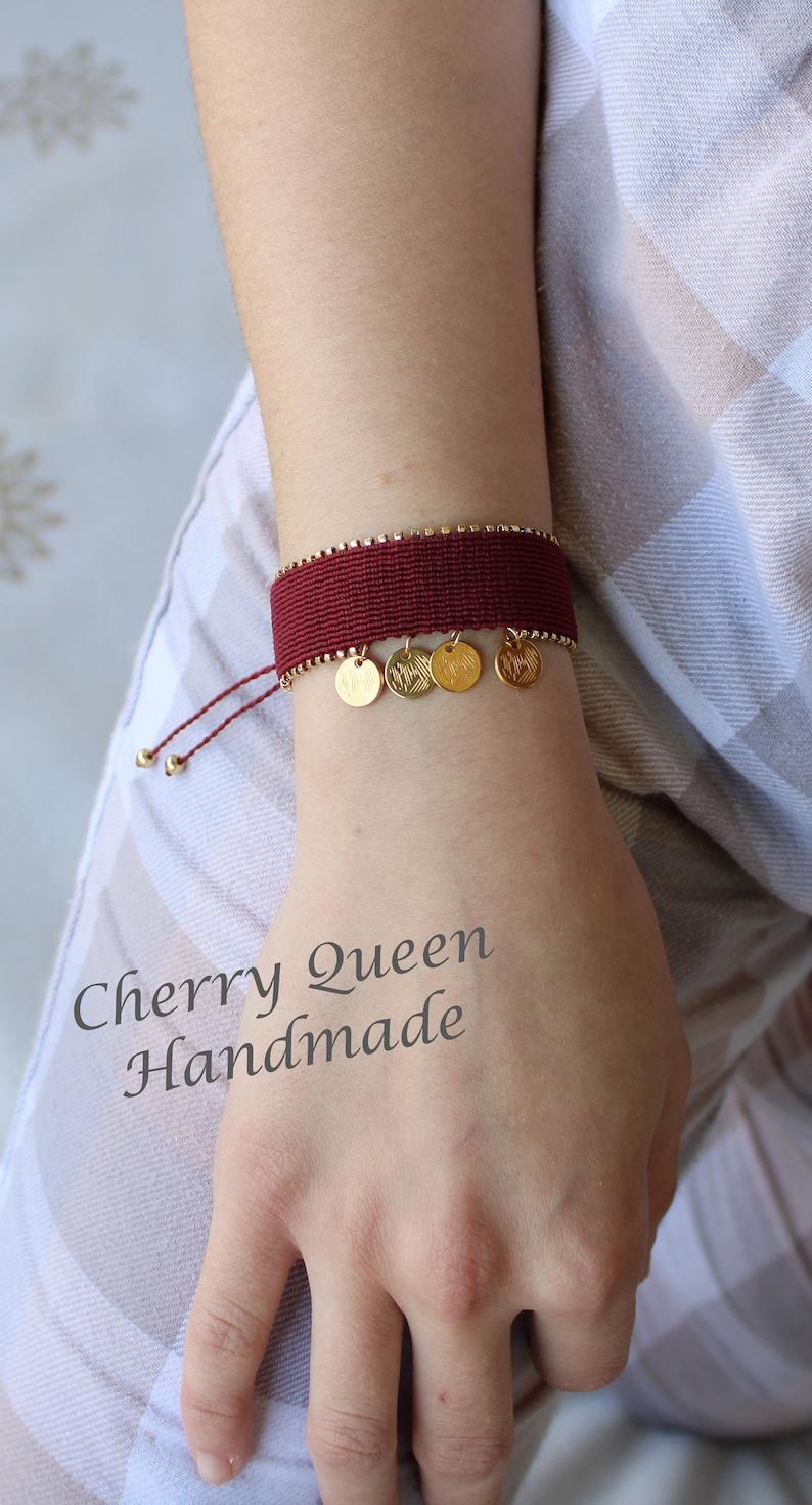 boho chic bracelet woman macrame bracelet Dark red macrame bracelet with miyuki beads