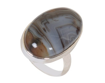 Size Silver Overlay Handmade Ring Handmade Ring Gift For Her 7.75 USA Botswana Agate Ring Boho Ring Statement Ring