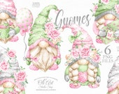 Gnomes with pink flowers. Mother 39 s Day. Download 6 png gnomes. Spring Gnomes. Nordic Gnomes. Graphic Design, digital clipart